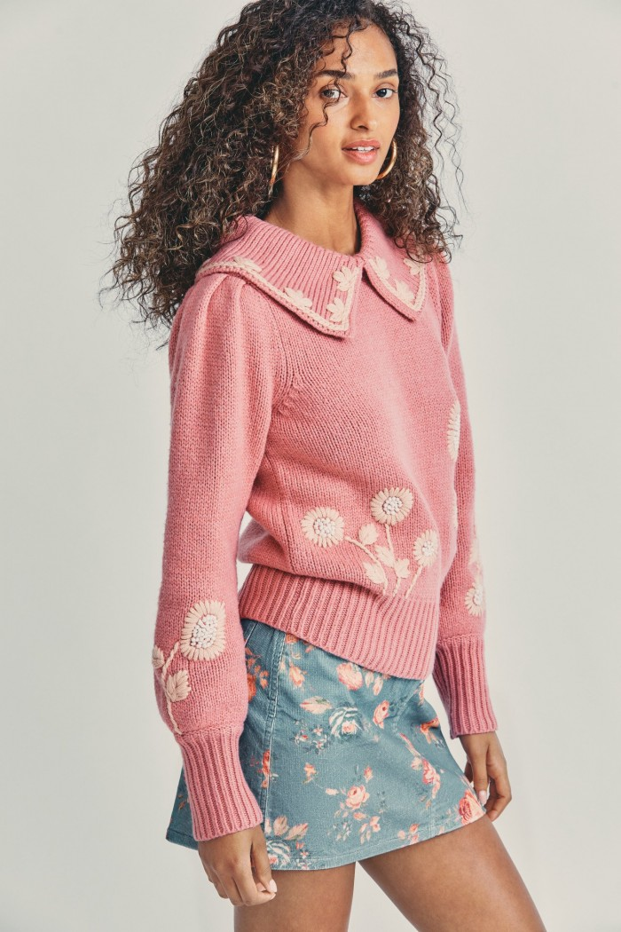 Loveshackfancy Union Collared Pullover Sweater in Rose Blush 4