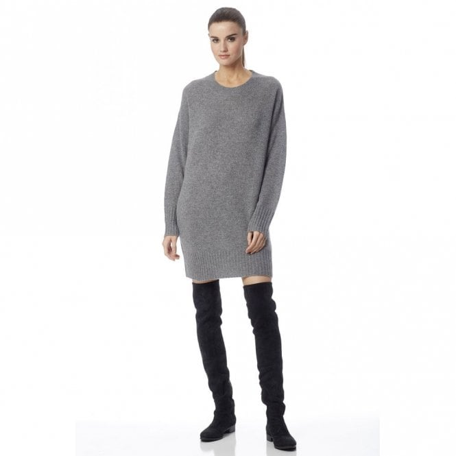 360 Sweater Adela Cashmere Jumper Dress in Heather Grey