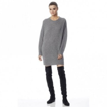Adela Cashmere Jumper Dress in Heather Grey