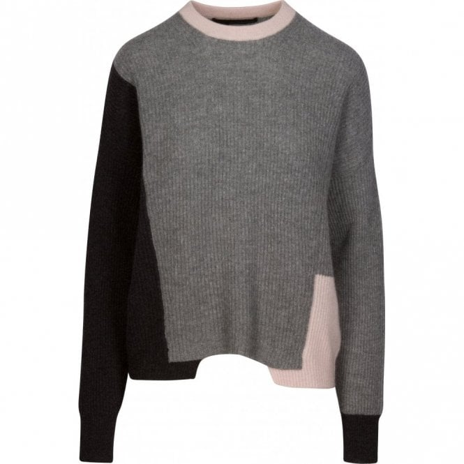 360 Sweater Akima Ribbed Colour Block Cashmere Jumper in Graphite, Grey and Buff