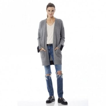 Brito Cashmere Cardigan in Heather Grey and Black
