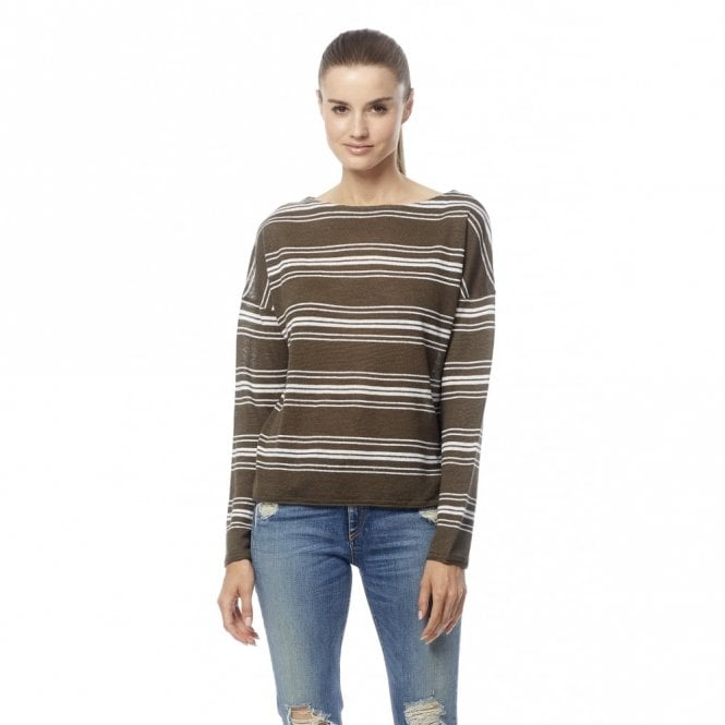360 Sweater Jasmine Stripe Sweater in White and Olive