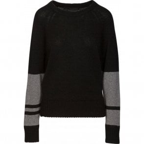 360 Sweater Lorina Colour Block Cashmere Jumper in Black and Heather Grey