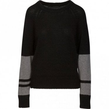 Lorina Colour Block Cashmere Jumper in Black and Heather Grey