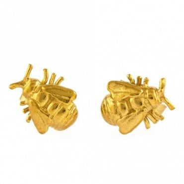 Gold Plated Bee Stud Earrings
