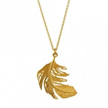 Gold Plated Big Single Feather Necklace