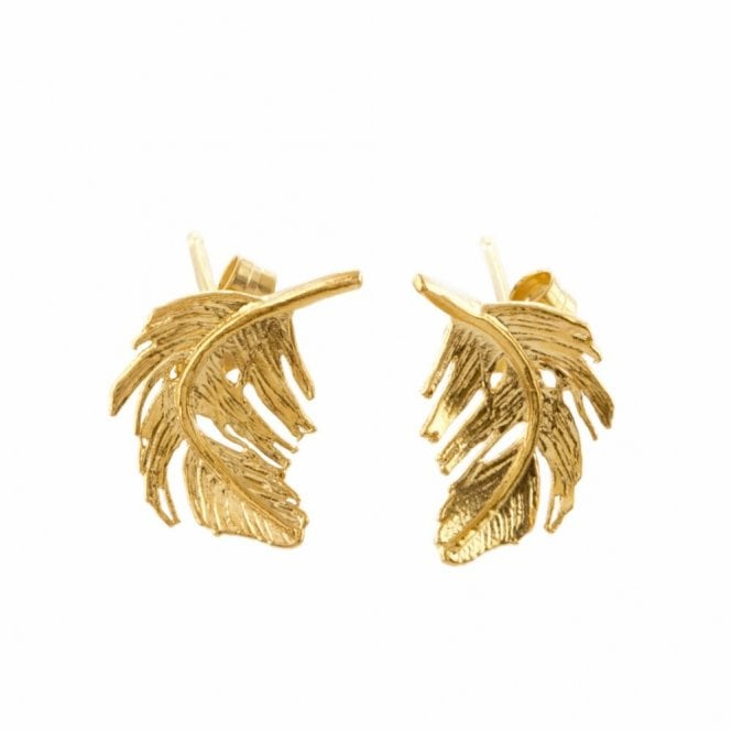 Alex Monroe Gold Plated Feather Stud Earrings