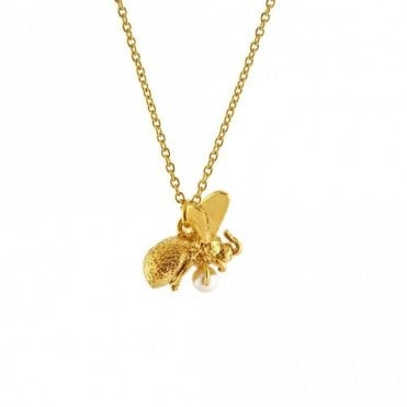 Gold Plated Flying Bee with Pearl Necklace