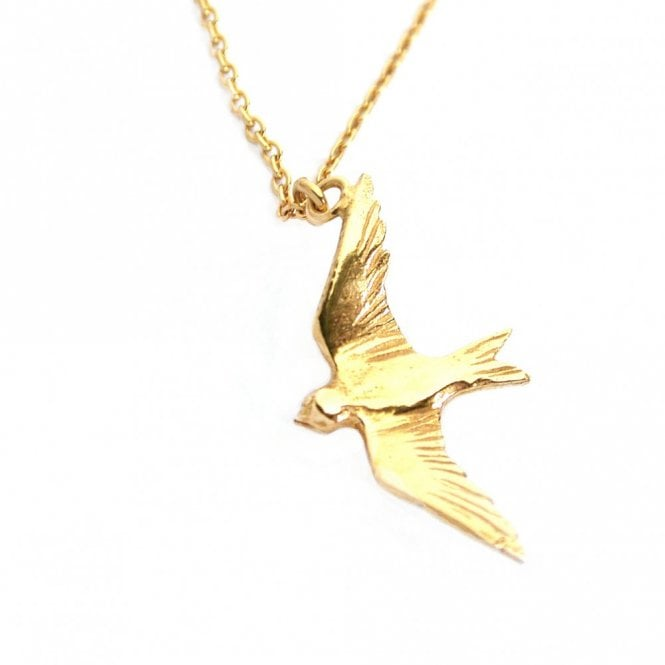 Alex Monroe Gold Plated Flying Swallow Necklace