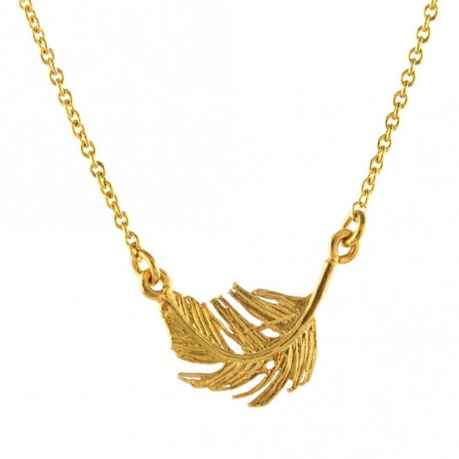 Alex Monroe Gold Plated Small In-Line Feather Necklace