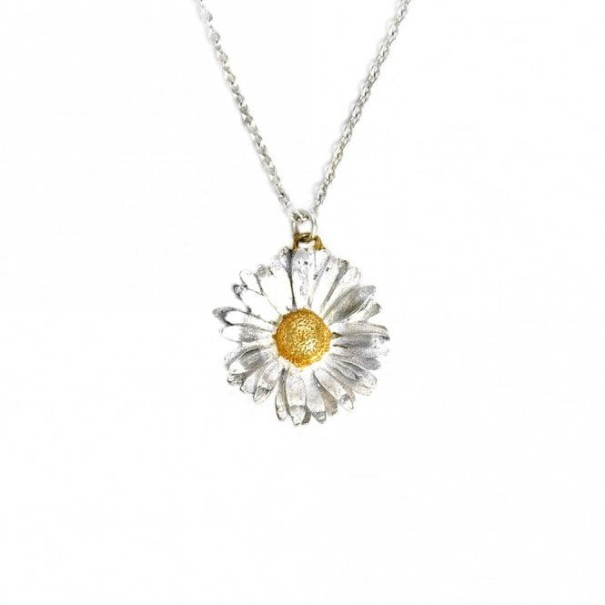 Alex Monroe Silver Big Daisy Necklace with Gold Plated Detail