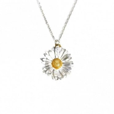 Silver Big Daisy Necklace with Gold Plated Detail