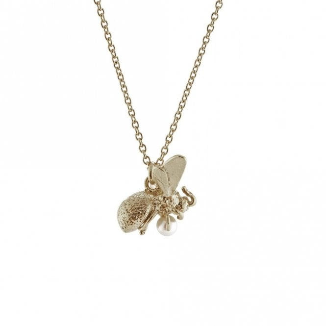 Alex Monroe Silver Flying Bee with Pearl Necklace