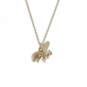 Silver Flying Bee with Pearl Necklace