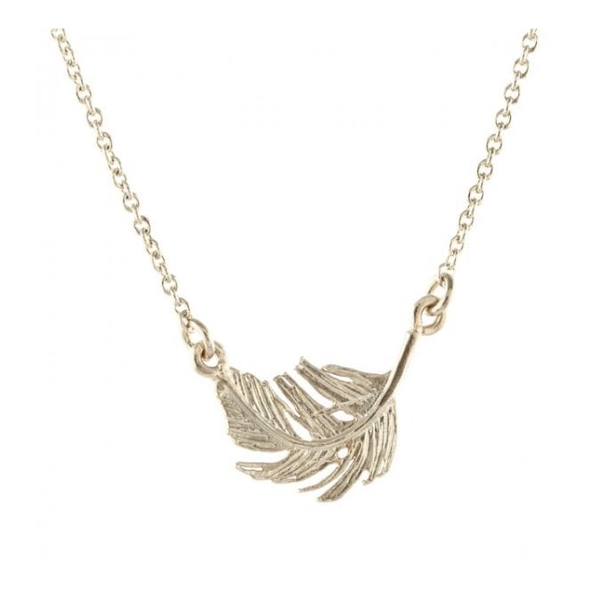 Alex Monroe Silver Small In-Line Feather Necklace