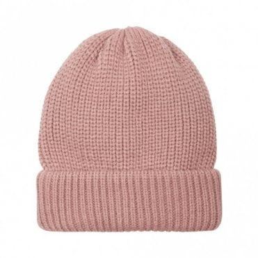 Panna Rib Knit Beanie Hat in Rose
