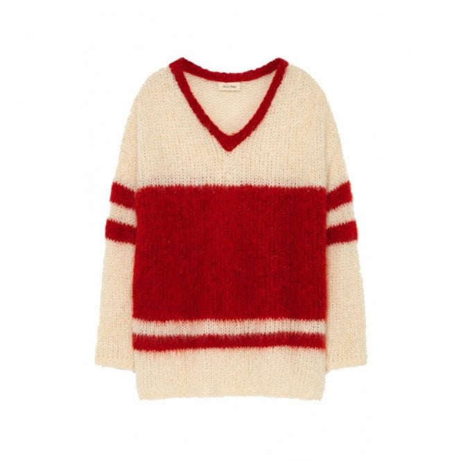 American Vintage Manina Sweater in Mother of Pearl Striped Candy Apple
