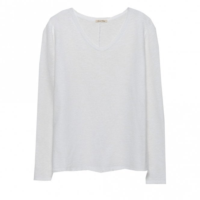 American Vintage Sonoma Long Sleeve V-Neck Top in White