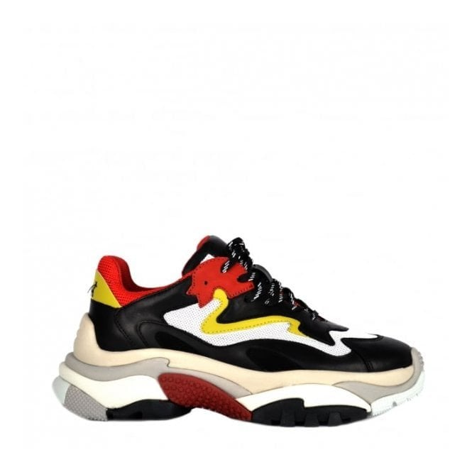 Ash Addict Trainers in Black Leather and Red Mesh