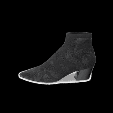 Camille Ankle Boots in Black Camo Print Knit