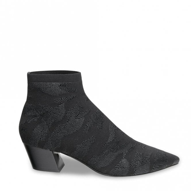 Ash Camille Ankle Boots in Black Camo Print Knit