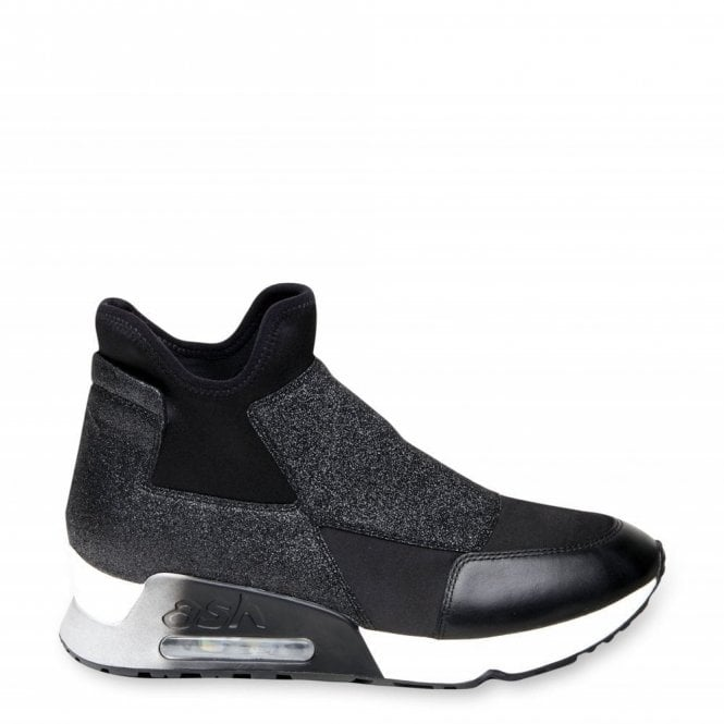 Ash Lazer Glit Trainers in Black Leather and Neoprene