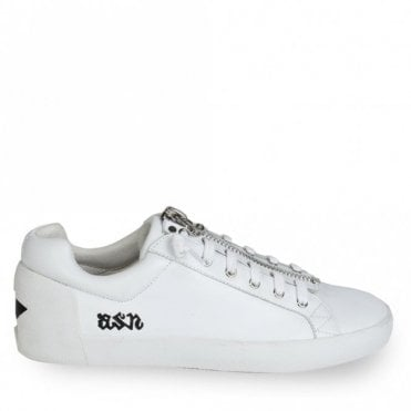Nirvana Zip Star Trainers in White and Black
