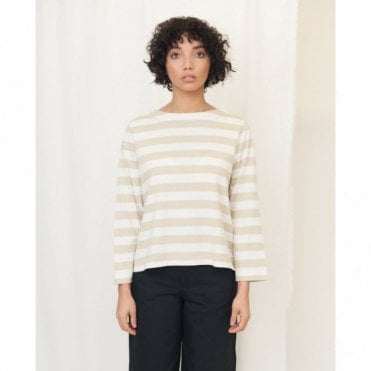 Babi Organic Cotton Stripe Top in Stone