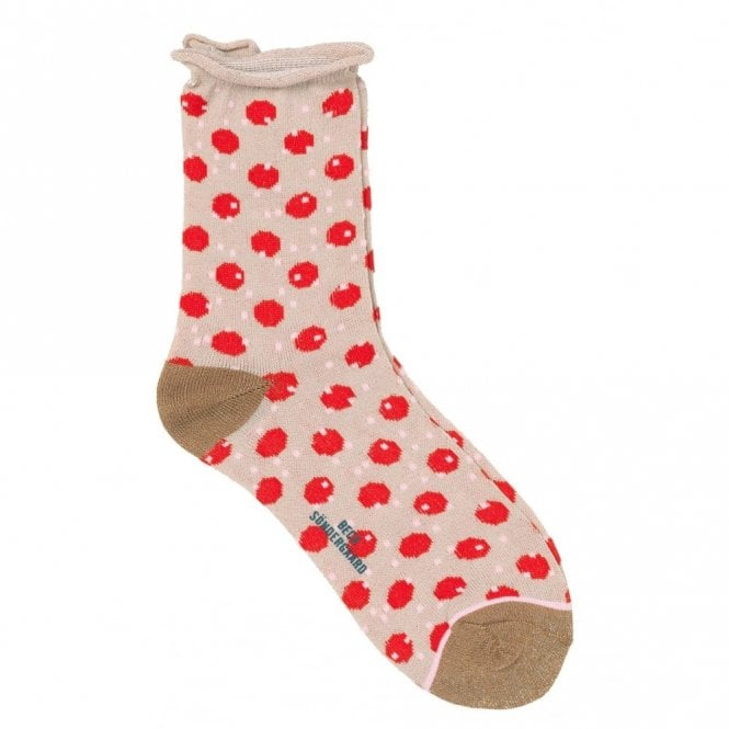 Becksondergaard Dory Unruly Dot Socks in Hot Coral