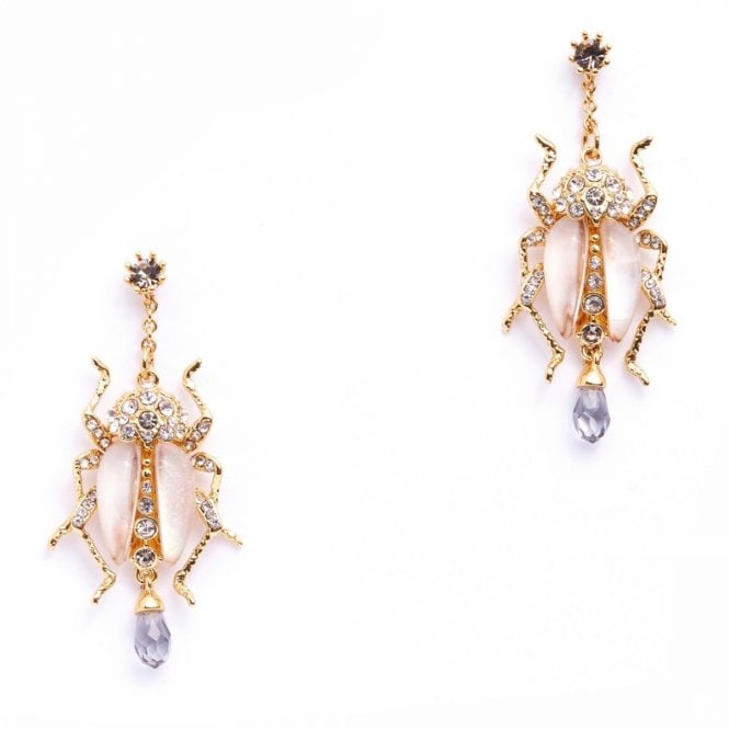 Jewelled Mother of Pearl Beetle Drop Gold Plated Earrings