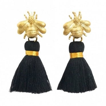 Bee Tassel Earrings - Black