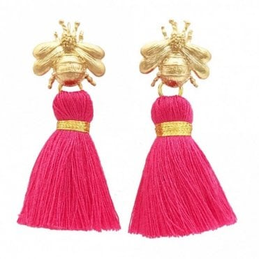 Bee Tassel Earrings - Bright Pink