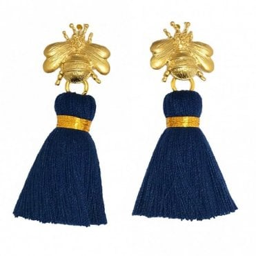 Bee Tassel Earrings - Navy