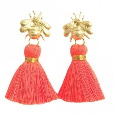Bee Tassel Earrings - Neon Coral