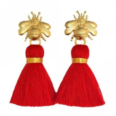 Bee Tassel Earrings - Red