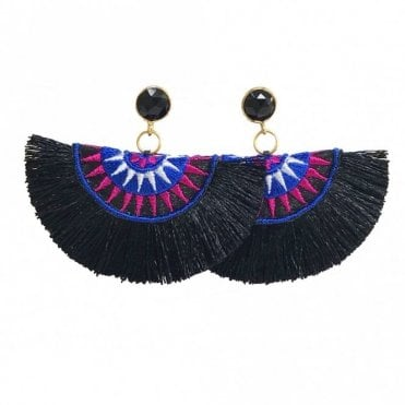 Crescent Fan Earrings - Black