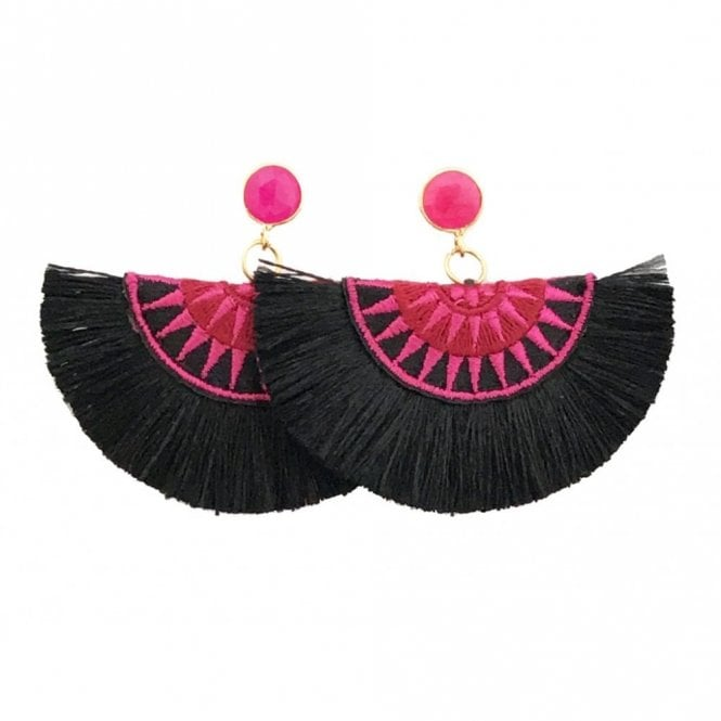 Blessed London Crescent Fan Earrings - Black & Pink