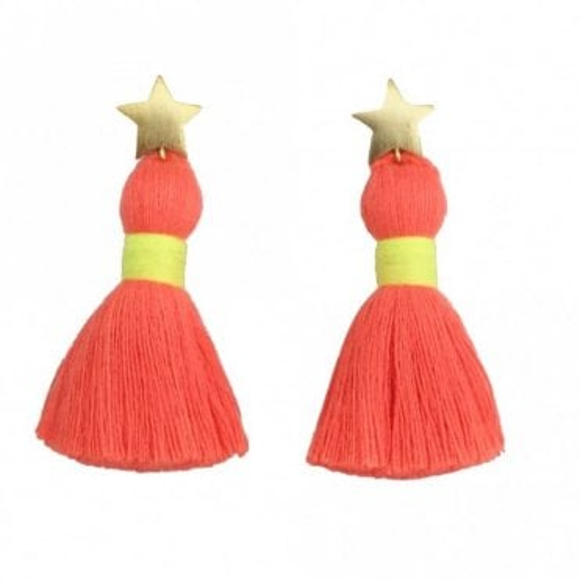 Star Tassel Earrings - Neon Coral