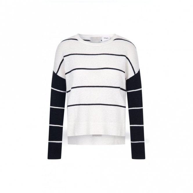 Charli Charlo Cashmere Stripe Sweater in Ivory and Black
