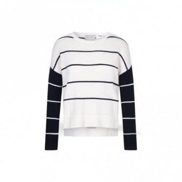 Charlo Cashmere Stripe Sweater in Ivory and Black