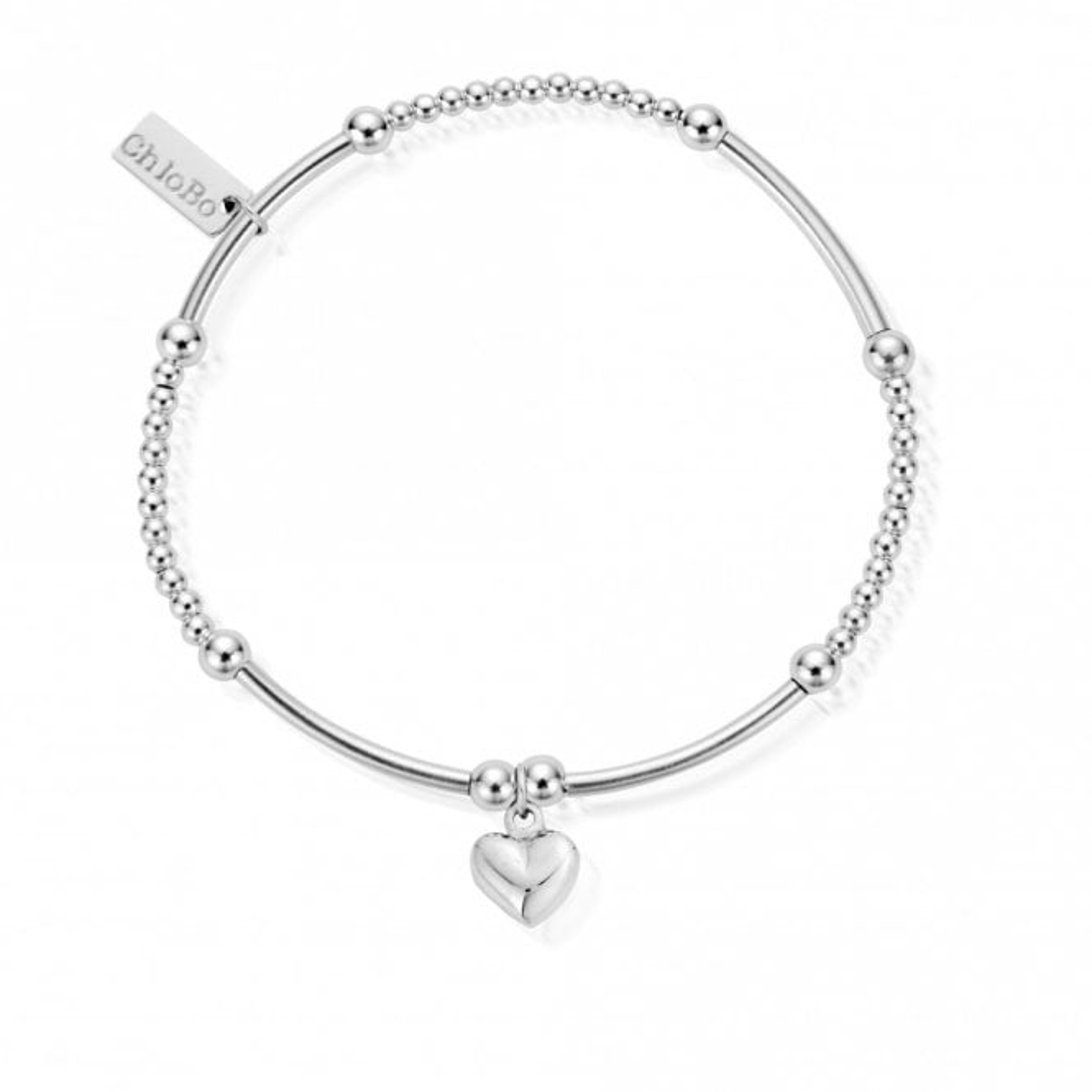 ChloBo Cute Mini Puffed Heart Bracelet in Silver