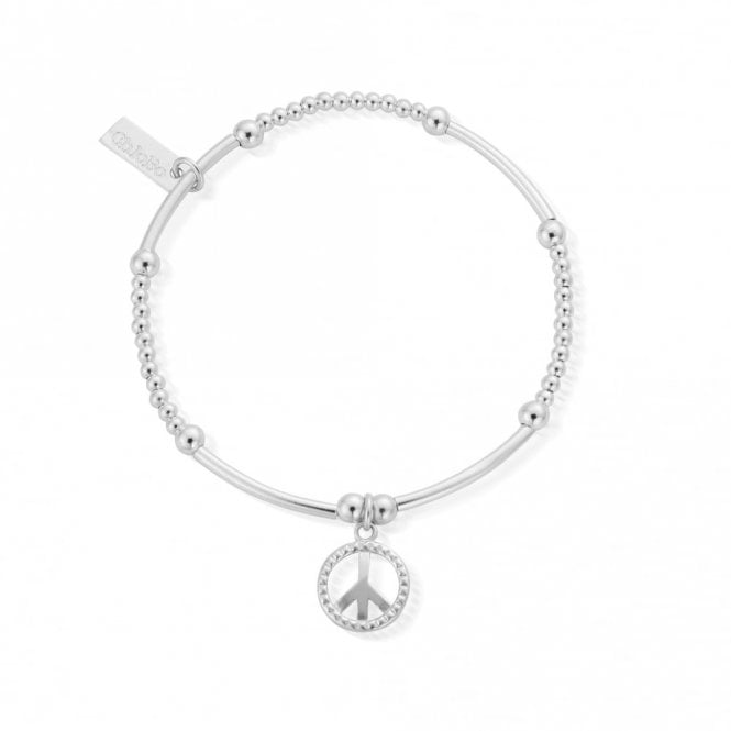 ChloBo Cute Mini Stud Peace Bracelet in Silver
