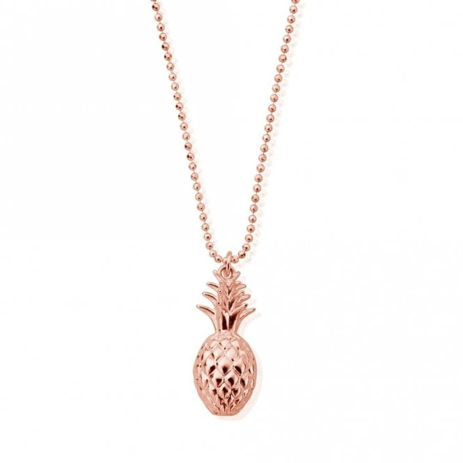 ChloBo Diamond Cut Chain Necklace with Pineapple in Rose Gold