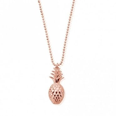 Diamond Cut Chain Necklace with Pineapple in Rose Gold