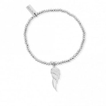 Mini Disc Angel Wing Bracelet in Silver