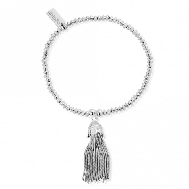 Mini Disc Tassel Bracelet in Silver