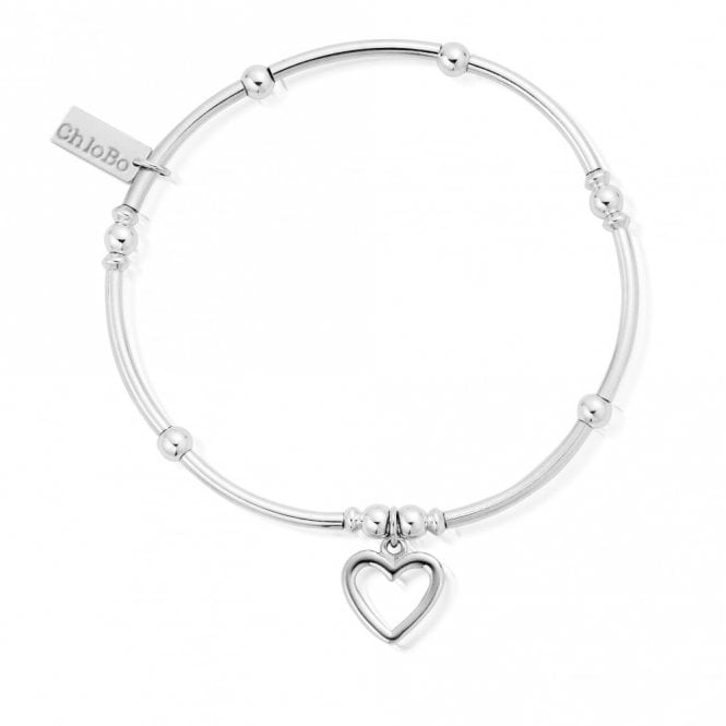 ChloBo Mini Noodle Ball Open Heart Bracelet in Silver