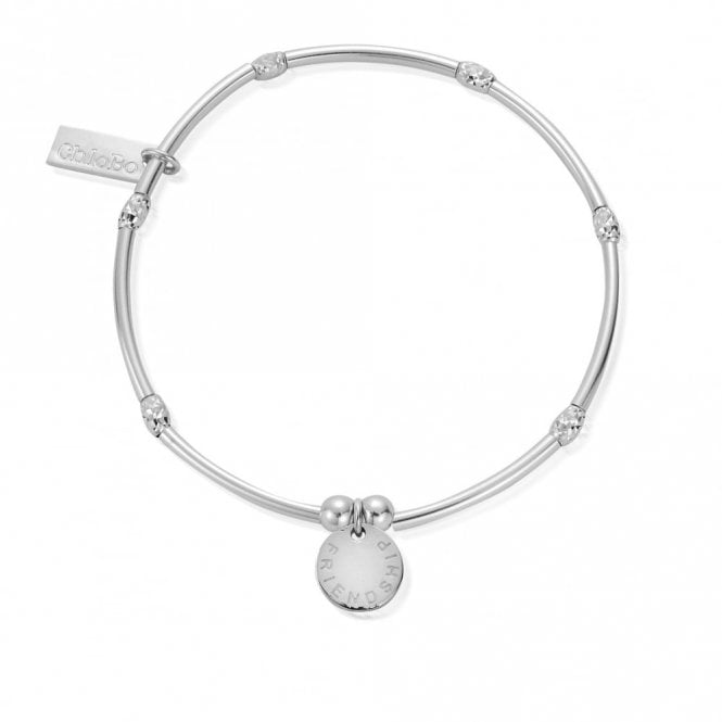 ChloBo Mini Noodle Sparkle Rice Friendship Disc Bracelet in Silver
