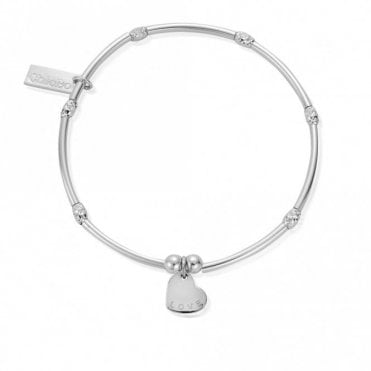 Mini Noodle Sparkle Rice Love Heart Bracelet in Silver
