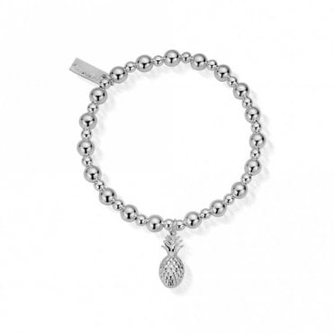 Mini Small Ball Pineapple Bracelet in Silver